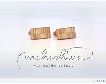 wooden cuff links wood cherry maple handmade unique exclusive limited jewelry - mahoshiva k 2017-110