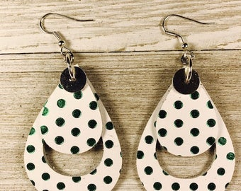 Leather earrings, St Patrick earrings, Bold earrings Teardrop earrings, Polka-dot leather
