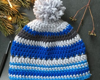 Custom-made Beanie Blue / Grey