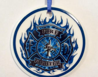 Firefighter Personalized Ornament Double sided