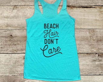 Beach Hair Don't Care ocean waves - running Soft Tri-blend Soft Racerback Tank fitness gym yoga exercise birthday gift