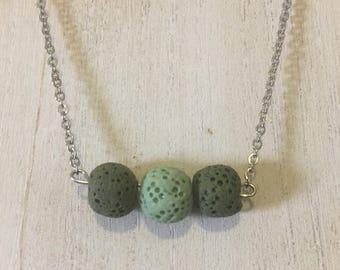 Green Trio Lava Stone Diffuser Necklace