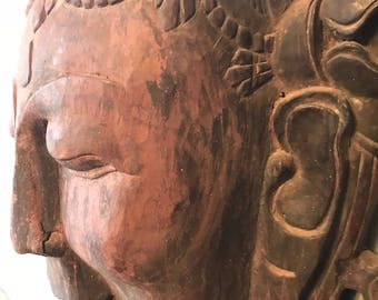 Antique, Hand-Carved, Wooden Buddha