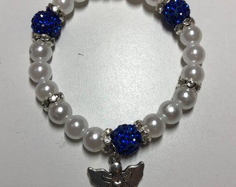 Blue Rhinestone Disco Ball beaded bracelet with Angel watching over me silver charm