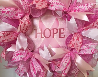 Breast Cancer Awareness, Pink Ribbon, Survivor, Hope Deco Mesh Wreath