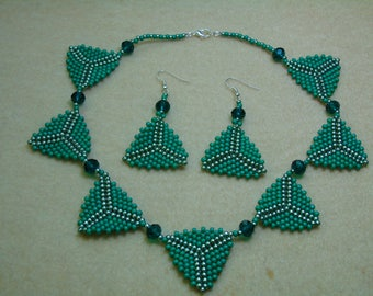 Triangle Pendant 16 1/2 inch Necklace and Earings Set