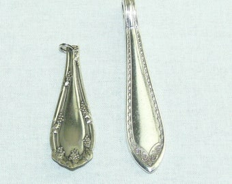 Vintage Silver Plate Spoon Flatware Jewelry Pendants Set of 2