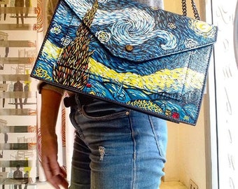 """Hand painted """"STARRY NIGHT"""" real leather bag"""