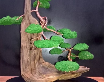 Twisted Copper wire   Bonsai sculptures mounted to Driftwood