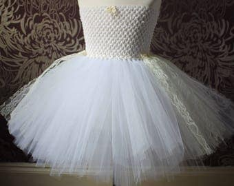 White Swan tutu dress with white tulle and cream lace