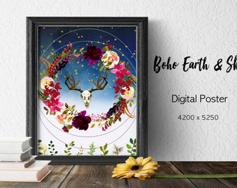 Boho Earth Flowers Sky Digital Poster