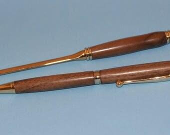 Ballpoint pen, letter opener,  recycled walnut wood, handcrafted, wood pen, wooden pen, WoodsmithPens, Nova Scotia Canadian