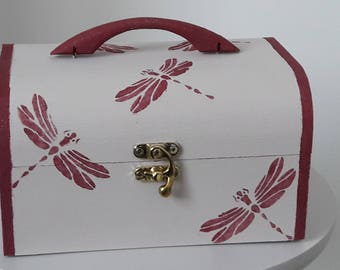 Safe box / wooden box handpainted Dragonfly stencil