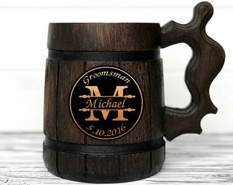 Groomsmen Gift. Personalized Mug. Groomsmen Mugs. Best Man Gifts. Custom Beer Steins. Groom Gift. Groomsman Gift. Personalized Wood Mug #13