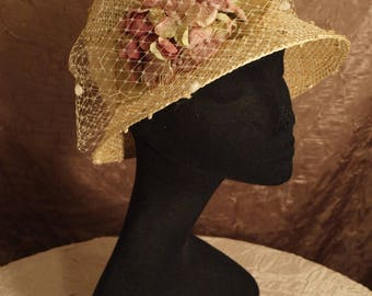 Textured Sisal Straw Cloche with Veil