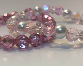 Metallic/pink stretch bracelet set
