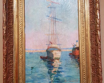 Original painting seascape old sailboat 3 masted XIXem