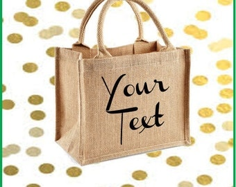 Large natural jute bag with personalised text print of choice in black, shopper bag, beach bag