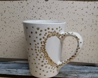 Dotted heart ceramic mugs