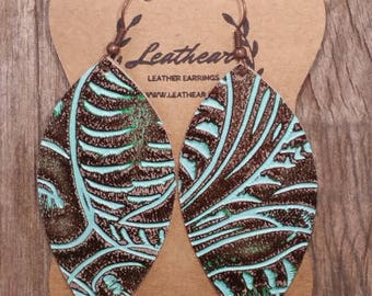 Rustic Brown & Turquoise Leather Earrings (Feather)