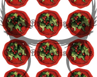 12 round vintage retro Christmas labels and seals, Red Wax