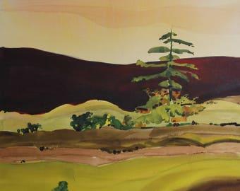 Purple Hills original watercolor painting