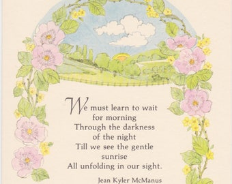 Vintage 1970s American Greetings notecard with lovely summer scene and poem by Jean Kyler McManus