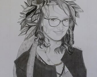 Graduation Pencil Portraits, Custom Pencil Portraits, Hand Drawn Portraits, Custom Pencil Drawing, Drawing with Pencil, Drawing from Photo