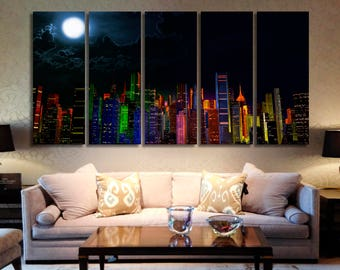 Night City Skyline Night City Canvas Cityscape Canvas Night City Wall Art Night City Panel Art Cityscape Wall Art City Wall Art Moon Art