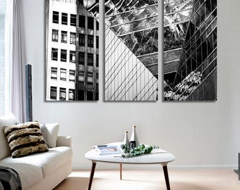 Extra Large Wall Art City Canvas Print - Black and White City Skyscrapers Print on Canvas, 5 Panels City Skyline Canvas Print