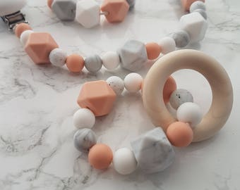 BPA free Silicone bead Teething necklace, teething ring, dummy clip, geometric, mothers day, baby shower, gift