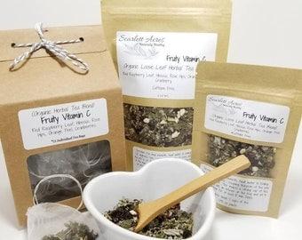 Organic Vitamin C Tea, Organic Red Raspberry leaf Tea, tea for women, tea gift set, pregnancy tea, herbal tea, hibiscus tea, organic tea.