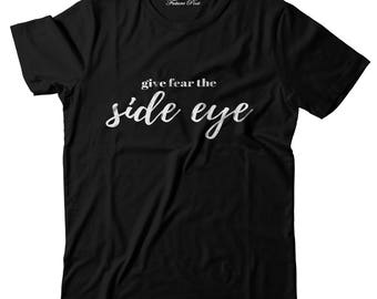 Women's Black T-shirt with inspirational quote (Side Eye)