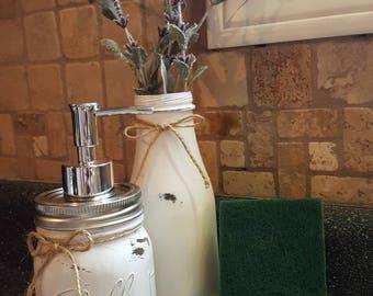 Mason Jar Kitchen Set, Soap Dispenser and Sponge Holder, Mason Jar Soap Pump and Sponge Holder