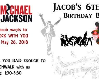 Michael Jackson, Birthday invitation, concert tickets, printable, custom, digital file