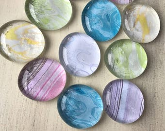Marble Glass Magnets (set of 10)