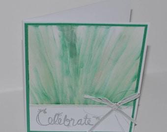 Hand Stamped Teal Sparkle Burst Birthday Card
