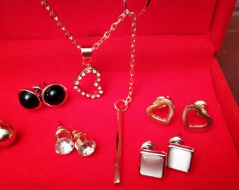 Jewelry Set 7 Piece Heart Pendant Gold color Necklace Chain Earring Silver Stone (A60)