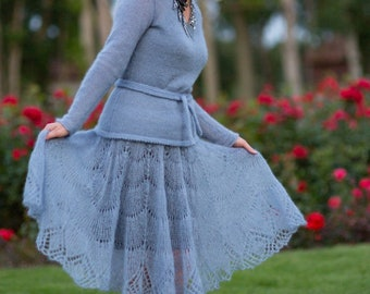 Knit bluish handmade crochet skirt. Available with a sweater