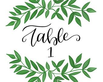 Wedding Table Numbers (Vines)