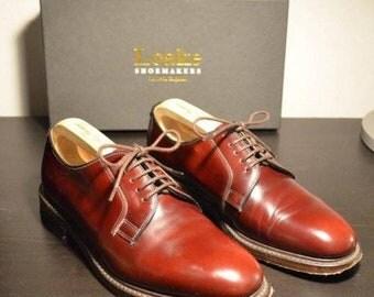 Loake 771 UK 6.5 burgundy polished leather derby shoes plain toe derbies blucher