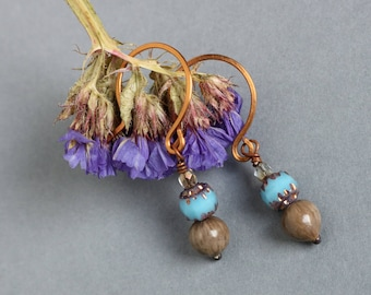 small copper earrings with blue glass beads and Job's tears seeds - natural jewelry - ethnic boho style