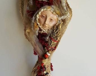 White Birch, Blodeuwedd and Arianrhod, Star and Flower, Goddes art,  Compassion Spirit, Art Doll, Ethnic Art, ooak Art Figure, Altar Decor,