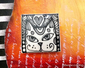 Cat Lover Gift -  Refrigerator Magnet Art - Clay / Pottery 2X2 Hand Painted Ceramic Tile by artist, Cindy Couling