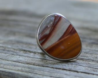 desert landscape cocktail ring - size US 7 1/2 - sonoran dendritic jasper and sterling silver