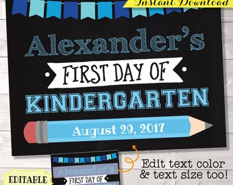 First Day of School Printable, EDITABLE PDF, First Day of School Chalkboard, First Day of School Sign, First Day Sign, First Day Photo Prop