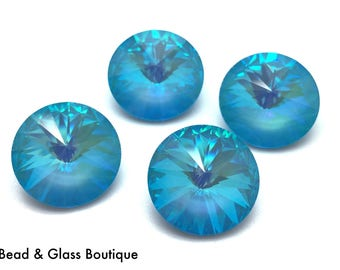 Swarovski Crystal Rivoli #1122, 14mm, 4 pieces, Ultra Turquoise