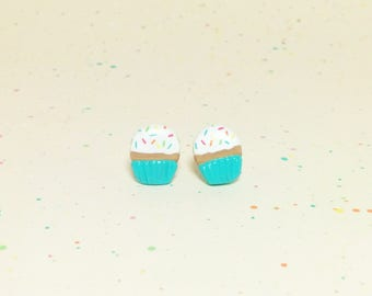 Rainbow Sprinkle Cupcake Clay Sterling Silver Post Earrings