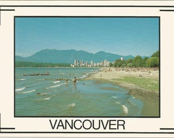 Vintage 1980s Postcard Vancouver British Columbia BC Canada Spanish Banks Beach Scenic Ocean Skyline View Photochrome Postally Unused