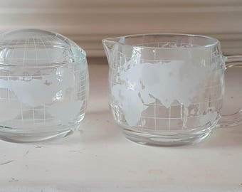 Vintage Nestle World Globe  Coffee Creamer and Sugar Bowl Dishes Set